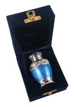 Miniature Blue and Silver Olympia Keepsake Urn
