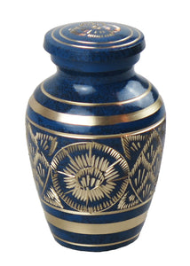 Miniature Vintage Art Deco Blue And Gold Keepsake Urn