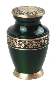 Miniature Emerald Green and Gold Olympia Keepsake Urn