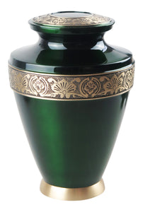 Large Emerald Green and Gold Olympia Adult Brass Urn