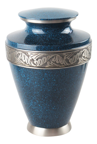Large Blue and Silver Night Sky Olympia Adult Brass Urn