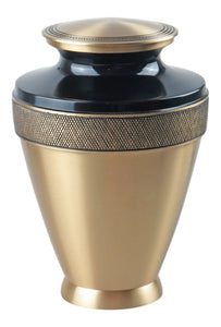 Large Black and Gold Olympia Adult Brass Urn