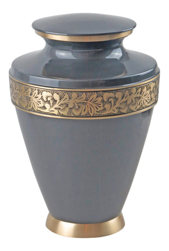 Large Slate Grey and Gold Olympia Adult Brass Urn