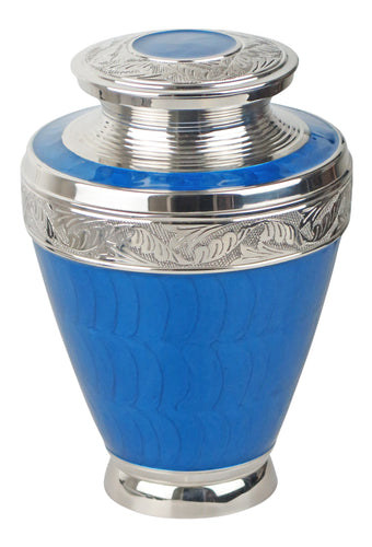 Large Blue and Silver Olympia Adult Brass Urn