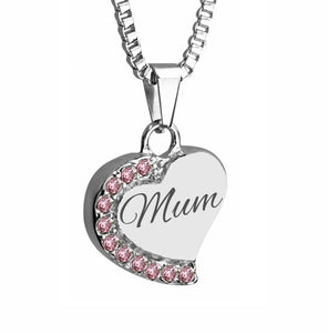 Mum Heart with Pink Crystals Cremation Urn Pendant