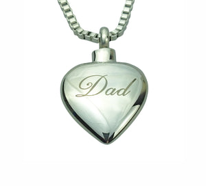 Dad Inscribed Heart Cremation Urn Pendant