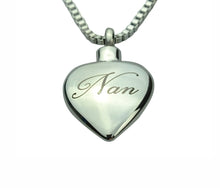 Nan Inscribed Heart Cremation Urn Pendant