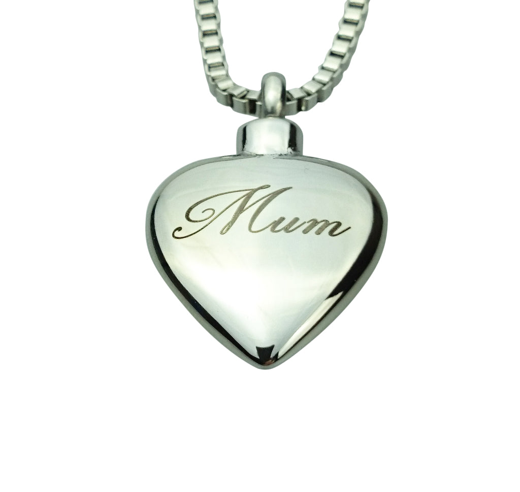 Mum Inscribed Heart Cremation Urn Pendant