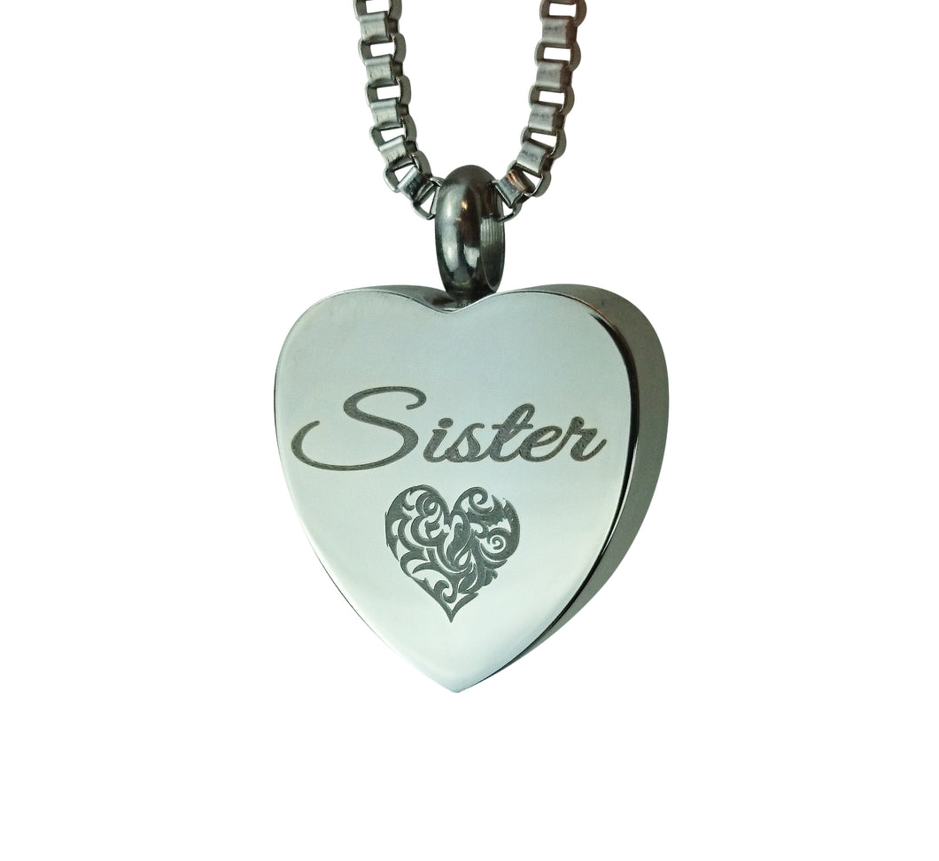 Sister Heart Cremation Urn Pendant