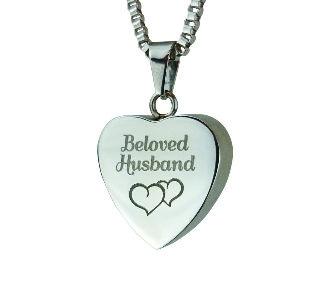 Beloved Husband Hearts Cremation Urn Pendant