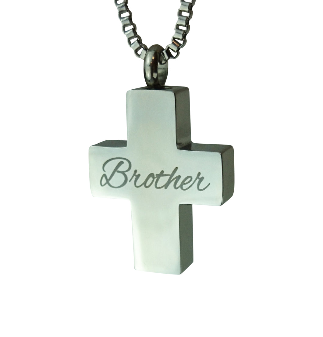 Brother Cross Cremation Urn Pendant