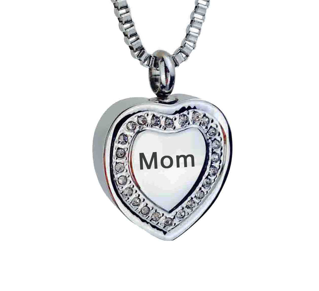 Mom Crystal Heart Cremation Urn Pendant