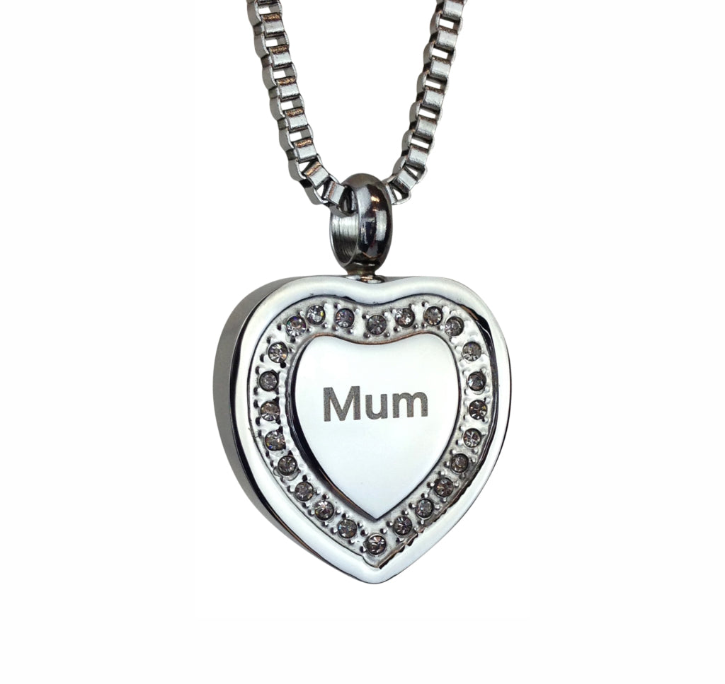Mum Crystal Heart Cremation Urn Pendant