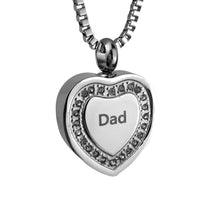 Dad Crystal Heart Cremation Urn Pendant