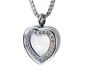 Crystal Heart Cremation Urn Pendant - Optional Personalisation