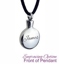 Plain Smooth Circle Cremation Urn Pendant - Optional Personalisation