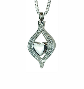 Diamond Heart Cremation Urn Pendant - Optional Personalisation