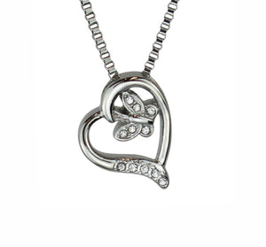 Butterfly Heart Crystal Cremation Urn Pendant