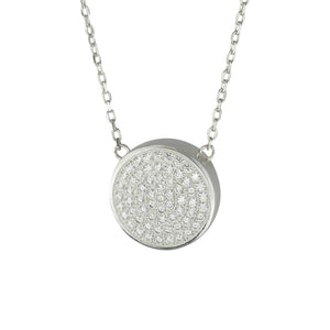 Sterling Silver Crystal Circle Cremation Urn Pendant