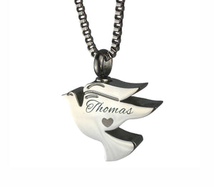 Personalised Dove Cremation Urn Pendant