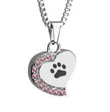 Paw Heart with Pink Crystals Cremation Urn Pendant