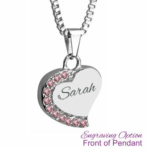 Heart with Pink Crystals Cremation Urn Pendant - Optional Personalisation
