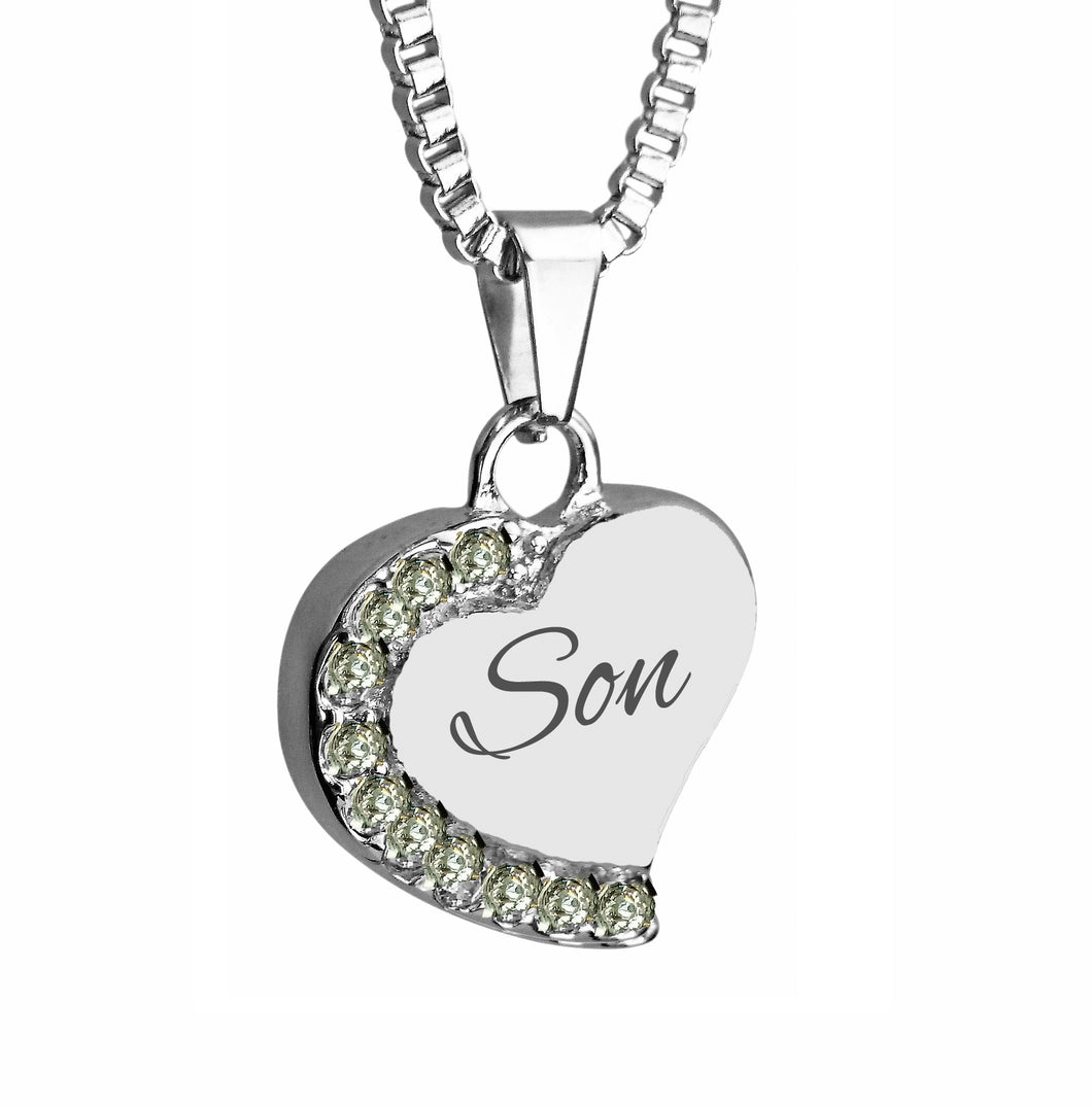 Son Heart with Crystals Cremation Urn Pendant