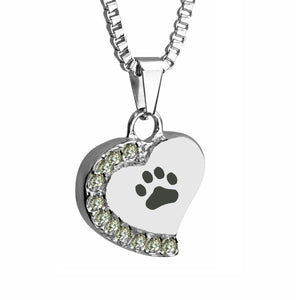 Paw Heart with Crystals Cremation Urn Pendant