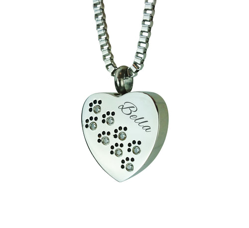 Crystal Personalised Paws on Heart Cremation Urn Pendant