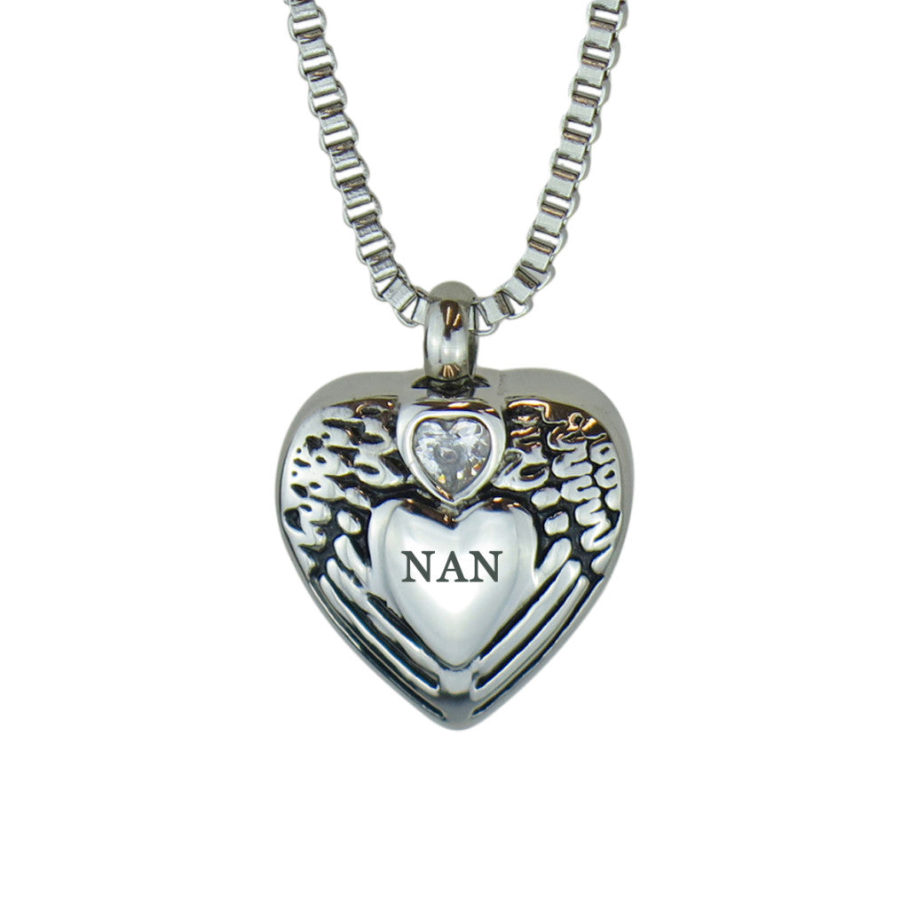 Nan Angel Wings Crystal Heart Cremation Urn Pendant