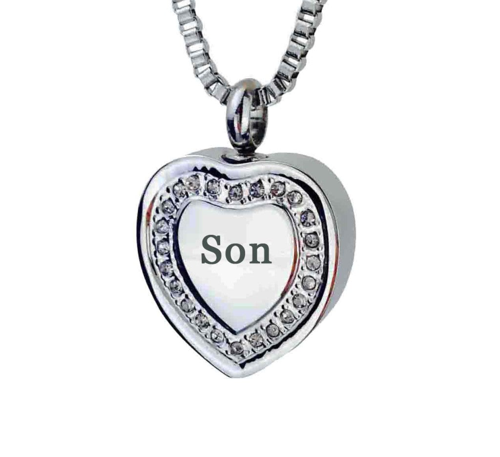 Son Crystal Heart Cremation Urn Pendant