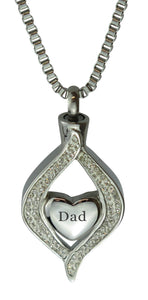 Dad Diamond Heart Cremation Urn Pendant