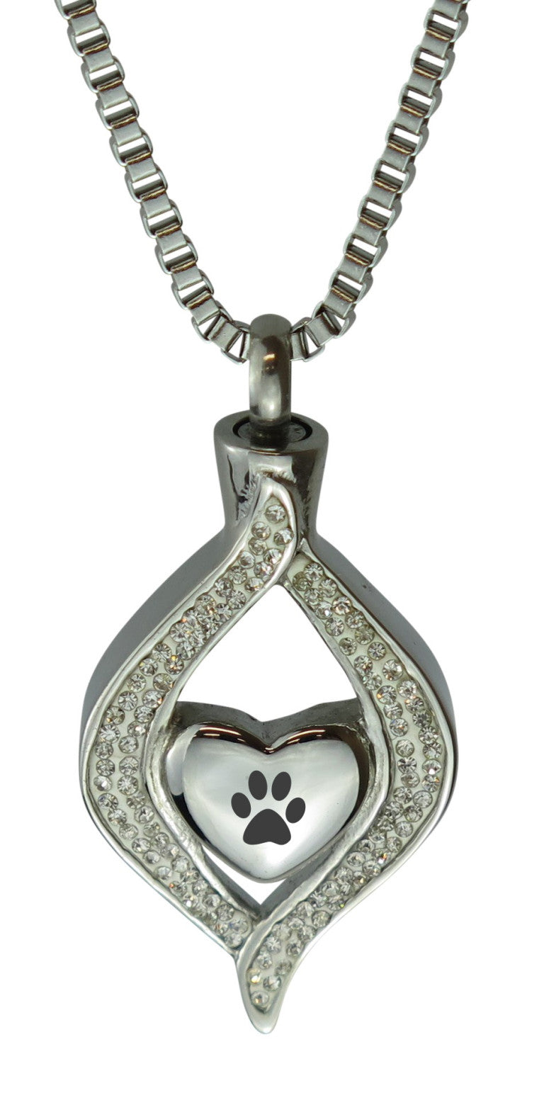 Paw Diamond Heart Cremation Urn Pendant