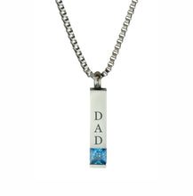 Dad Quantum Blue Crystal Cremation Urn Pendant