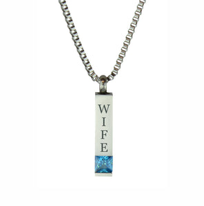 Wife Quantum Blue Crystal Cremation Urn Pendant