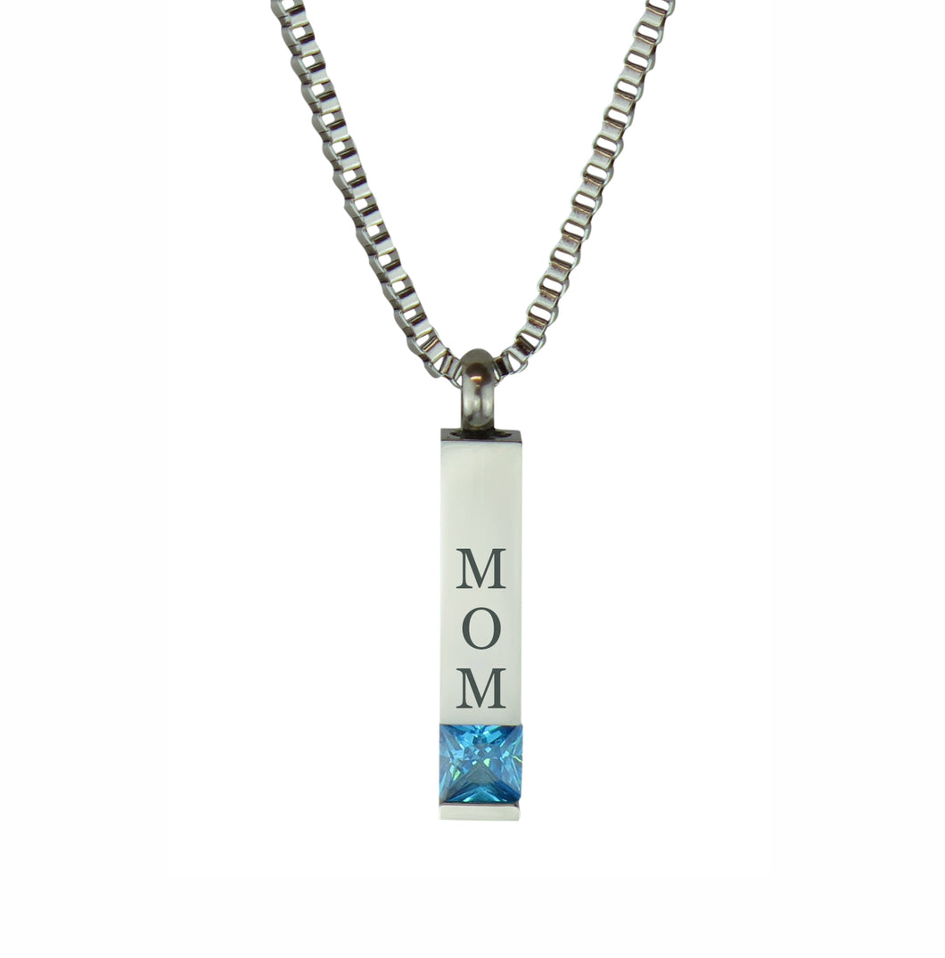Mom Quantum Blue Crystal Cremation Urn Pendant