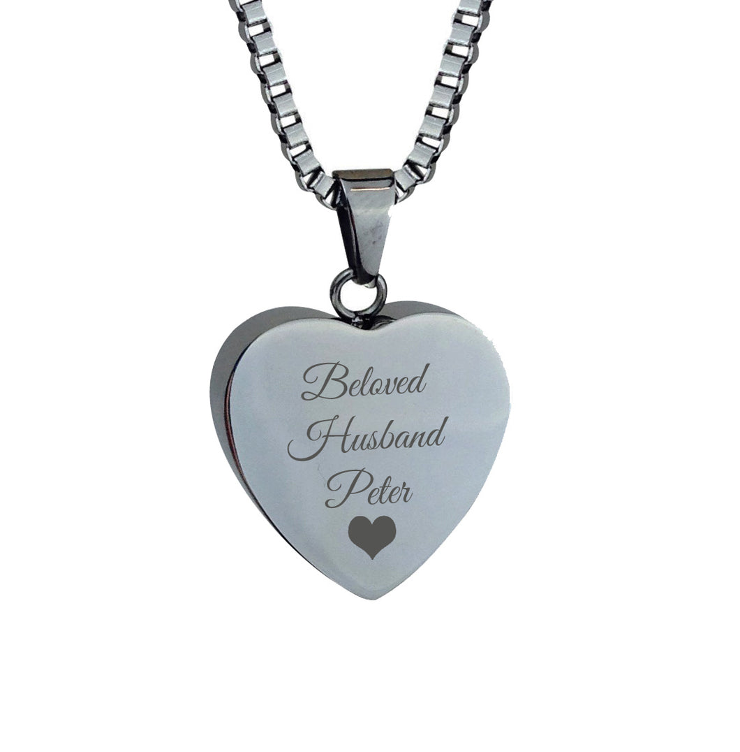 Beloved Husband Personalised Cremation Urn Pendant