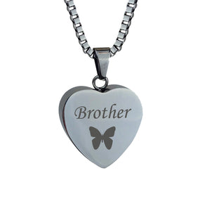 Brother Butterfly Heart Cremation Urn Pendant