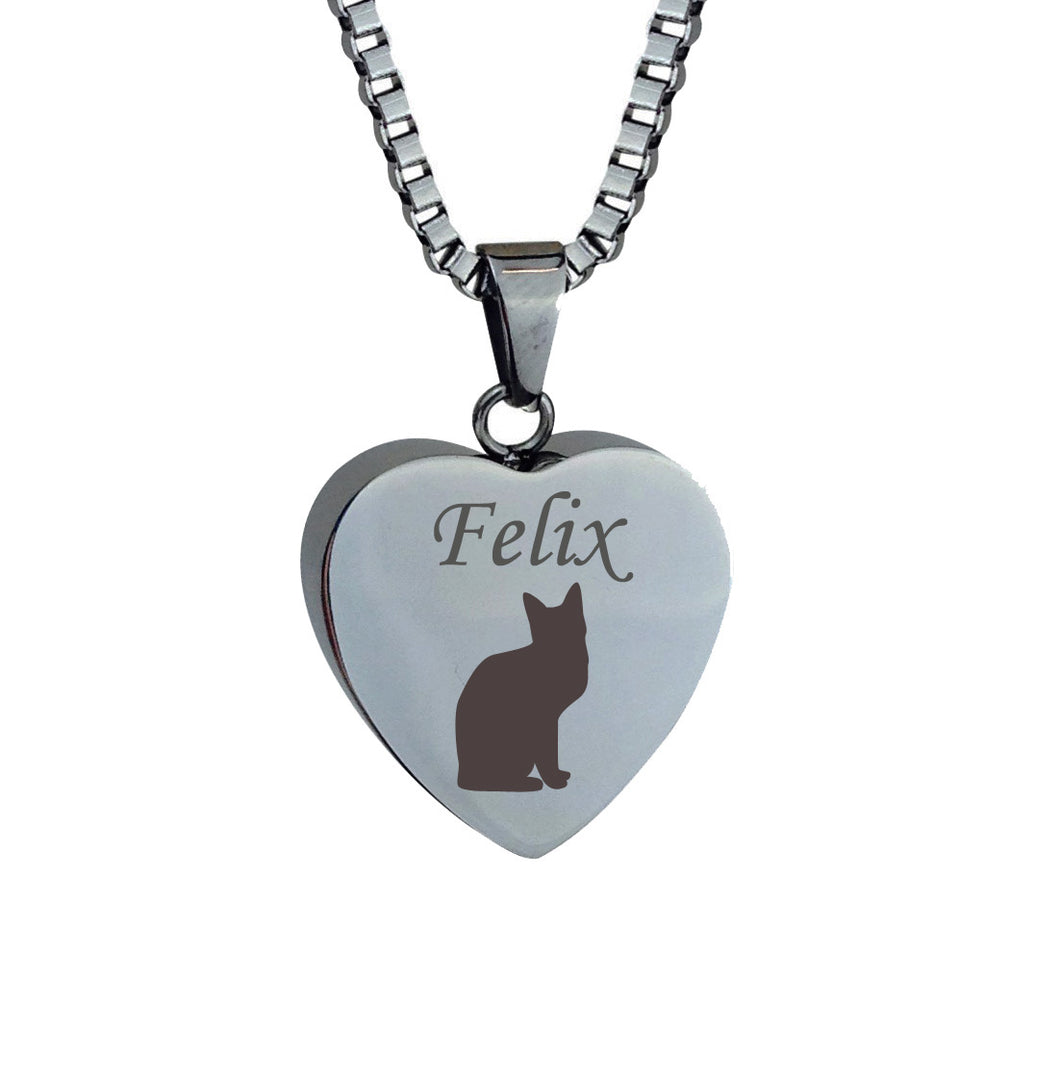 Personalised Cat Heart Cremation Urn Pendant