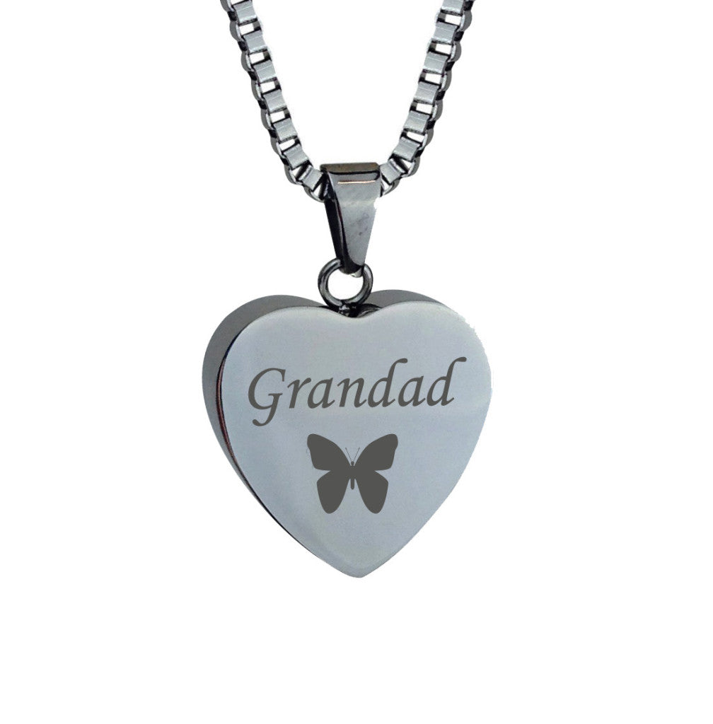 Grandad Butterfly Heart Cremation Urn Pendant