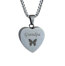 Grandpa Butterfly Heart Cremation Urn Pendant