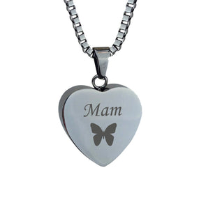 Mam Butterfly Heart Cremation Urn Pendant