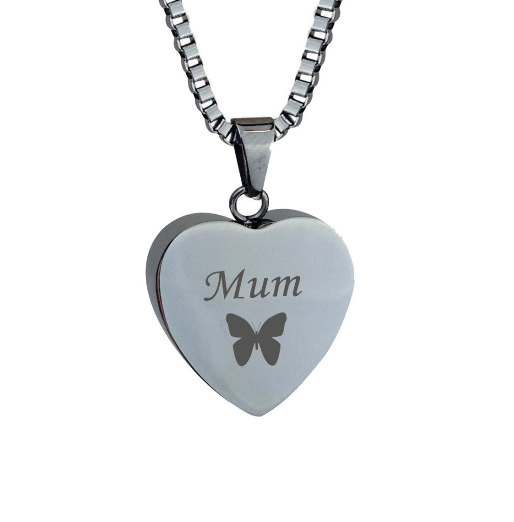 Mum Butterfly Heart Cremation Urn Pendant