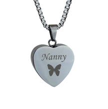 Nanny Butterfly Heart Cremation Urn Pendant