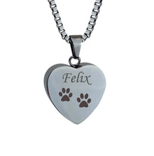 Personalised Paws Pet Heart Cremation Urn Pendant
