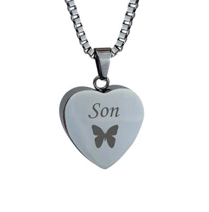 Son Butterfly Heart Cremation Urn Pendant