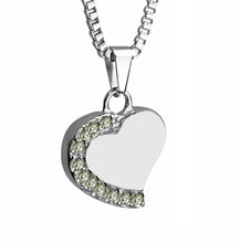 Heart with Crystals Cremation Urn Pendant - Optional Personalisation