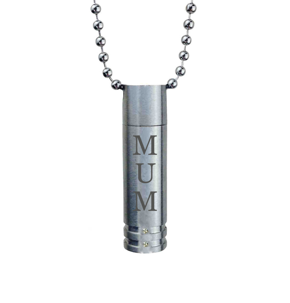 Mum Cylinder with Crystals Cremation Urn Pendant
