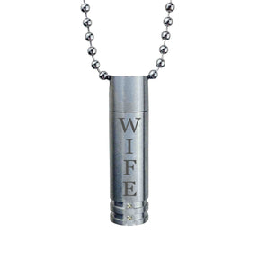 Wife Cylinder with Crystals Cremation Urn Pendant