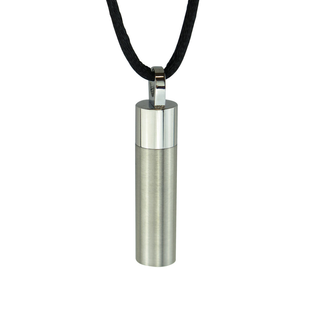 Cannister on Silk Rope Cremation Urn Pendant